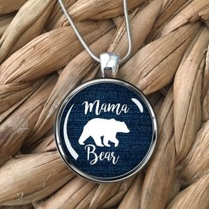 Jewelry - Mama Bear Womens Silver Pendant Necklace